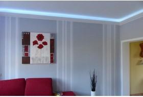 """Beispiel 4 - Indirekte Deckenbeleuchtung im Wohnzimmer mit den LED Lichtvouten """"DBML-90-PR""""."""