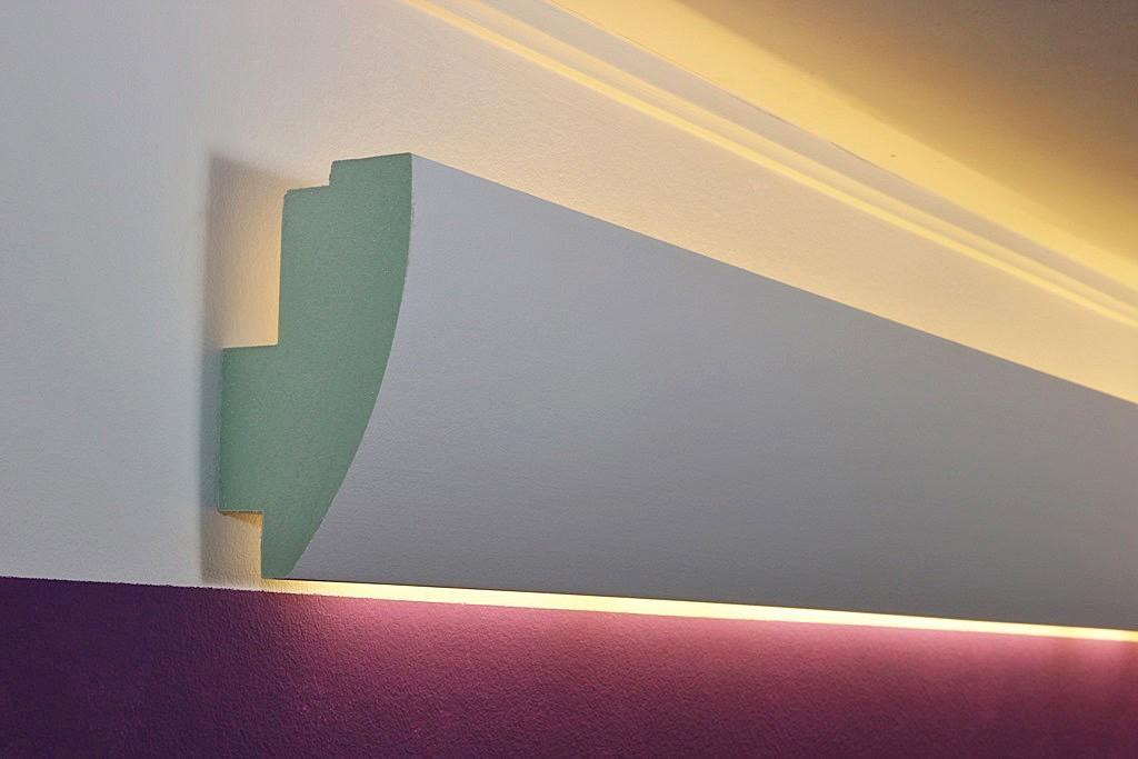 modernes stuckprofil f r die beleuchtung wand und decke wdml 85a pr. Black Bedroom Furniture Sets. Home Design Ideas