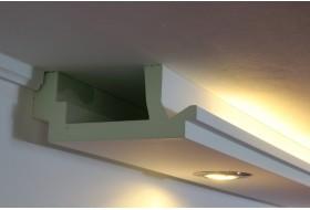 """Modern geformte LED Stuckleisten """"WDML-200C-PR"""" aus Hartschaum für direktes und indirektes Licht an Wand und Decke"""