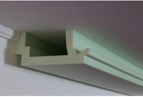 """Modern geformte LED Stuckleiste """"WDML-200C-ST"""" aus Hartschaum für direktes und indirektes Licht an Wand und Decke"""