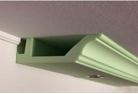 Klassisches Stuck- und Lichtprofil BSKL-290A-ST für die direkte Wandbeleuchtung mit LED Strahlern bzw. Downlights.