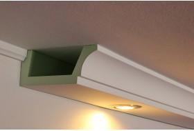 Stuck- und Lichtprofil BSKL-180B-PR aus Hartschaum für die direkte Wandbeleuchtung mit LED Spots bzw. Strahlern.