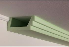 Deckenprofil BSML-180A-ST für die direkte Beleuchtung der Wand mit LED Strahlern aus Hartschaum