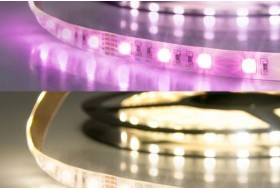 RGB-WW LED strip with 19,0 watt per meter at 24 volt, IP20