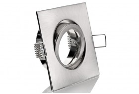 Pivoting square spotlight frame for Ø 5 cm matt chromium