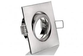 Eckiger LED Spot-Rahmen schwenkbar für GU10 / MR16 Strahler - Chrom-matt