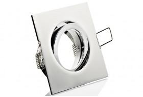 Pivoting square spotlight frame for Ø 5 cm glossy chromium
