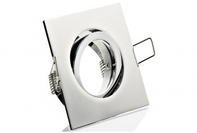Eckiger LED Einbaurahmen schwenkbar für GU10 / MR 16 Spots - Chrom glänzend