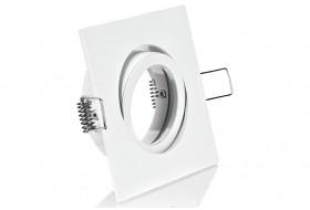 Eckiger LED Spotrahmen schwenkbar für GU10 / MR16 Leuchtmittel - Weiß