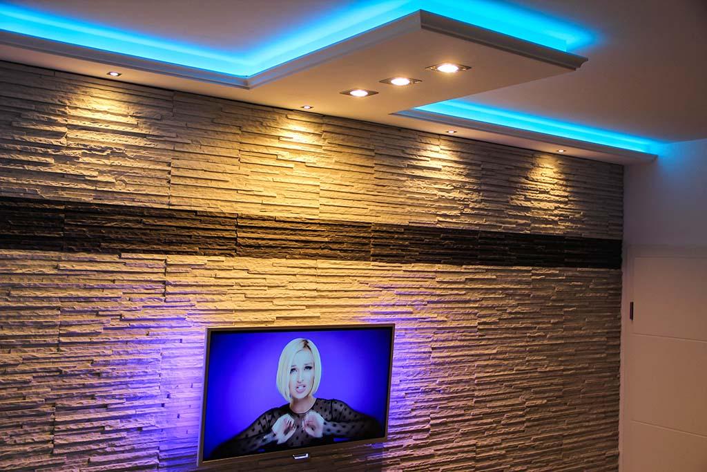 Indirekte LED Beleuchtung von Wand & Decke mit der Stuckleiste WDKL-200C-PR inkl. Sonderanfertigung